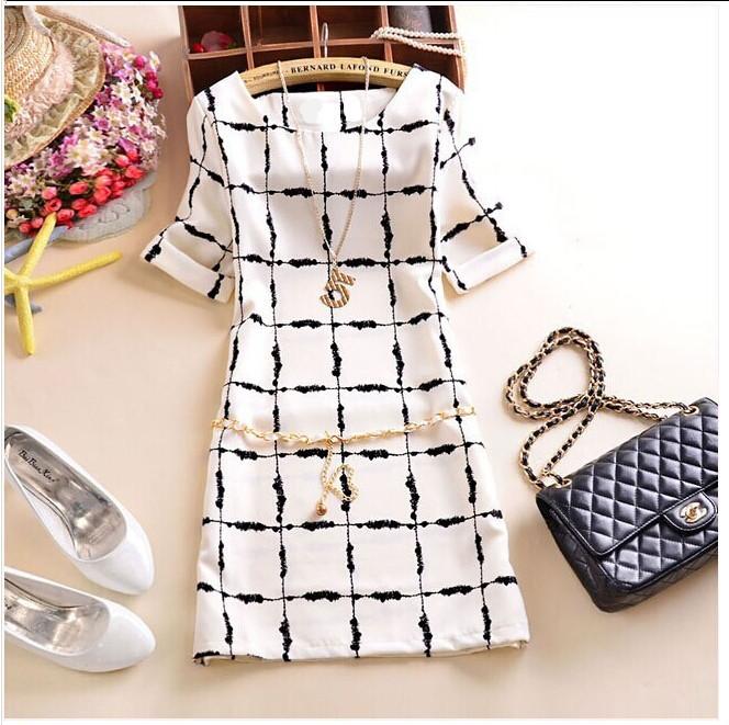 2015 Summer New Korean Edition Cultivate Morality Slim Chiffon dress Black and White Squares Dress Plus size vestidos femininos(China (Mainland))