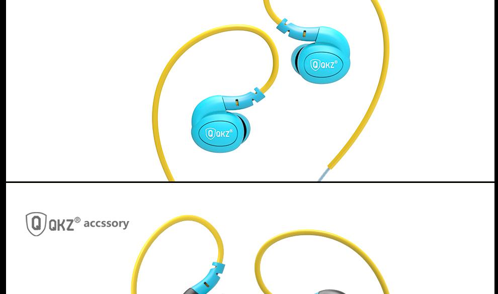 Earphone QKZ DM100 Sports Earphones Running Waterproof Sweatproof IPX5 with mic in-ear earhook Music Headset Mobile Stereo Bass
