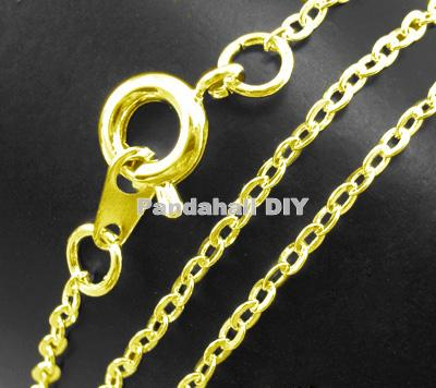 "Brass Chain for Necklace Making Jewelry Findings Golden Color, Chain: about 1.5mm wide, 2mm long; about 18"" long,120 Strands/lot(China (Mainland))"