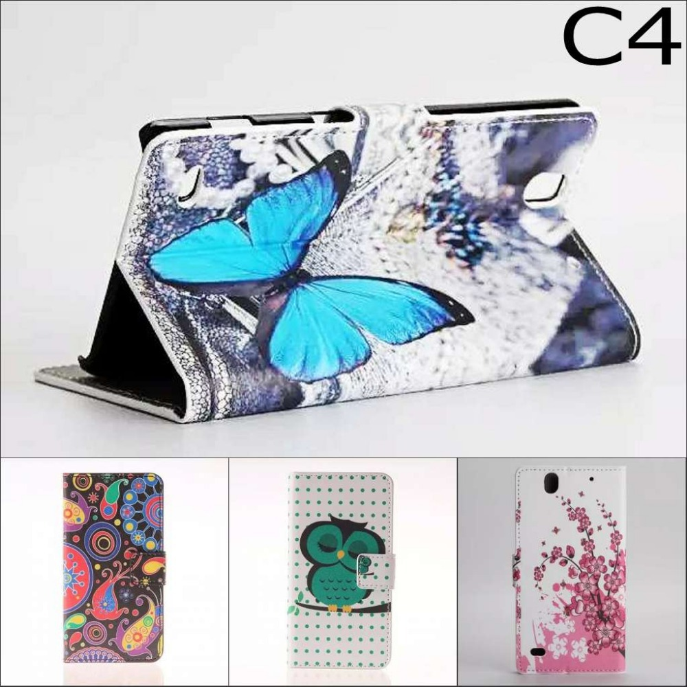 Fashion Chinese flower Owl USA UK wallet card slot flip leather stand case cover for Sony Xperia C4 E5333 E5303 with screen film(China (Mainland))