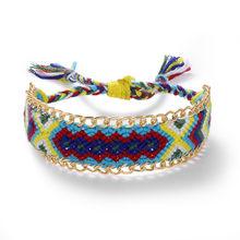 Najlepsza pani DIY Boho ręcznie robione bransoletki regulowany tkaniny wzór oczy przyjaźń bransoletka bransoletki dla kobiet siostry Party(China)