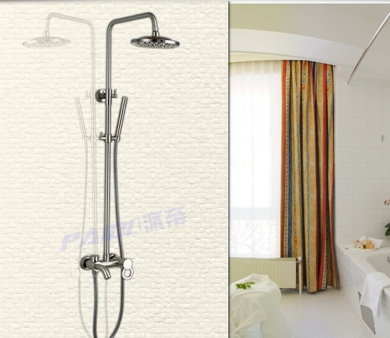 Bathroom Brass Brushed Nickel Bathroom Shower Set Tub Mixer Tap W/ Hand Shower(China (Mainland))