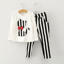 baby girl autumn clothing set children spring long sleeve cat bowknot outfits baby shirt stripe pants