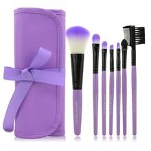 2014 HOT !! Professional 7 pcs Makeup Brushes Set tools Make-up Toiletry Kit Wool Brand Make Up Brush Set Case  PY