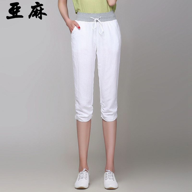 Female summer plus size Casual Mid Solid Loose flax Pencil Pants women spring cotton thin Breathable leggings Capris G503 D10Одежда и ак�е��уары<br><br><br>Aliexpress