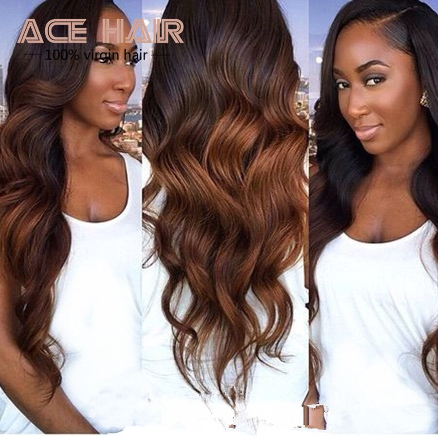 Гаджет  Queen Hair Brazilian Body Wave Ombre Brazilian Hair  #1b/#33 Brazilian Curly Virgin Hair 4pcs/lot  Brazilian Hair Weave Bundles None Волосы и аксессуары