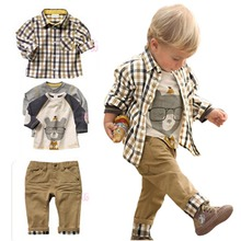 New Spring Autumn Kids Clothes 3pcs Clothing Sets Boys Clothes European Style Plaid Suits T shirt+Shirt+Pants Childrent Set BD67()