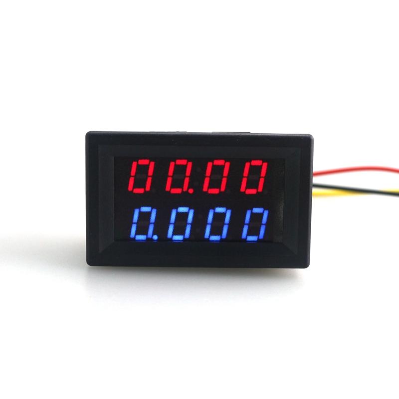Digital 4 Bit DC 200V 0-10A Voltmeter Ammeter Red Blue LED Dual Display Built-in shunt 12v 24v Car Voltage Current Monitor<br><br>Aliexpress