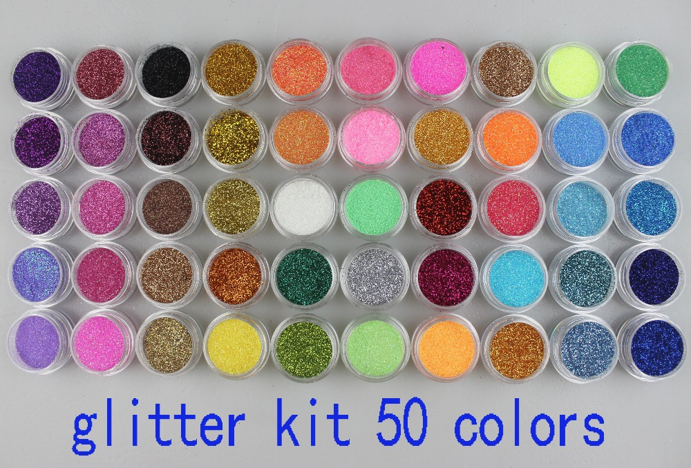 50 Jar Different Colors Sparkle Glitter Dust Powder For Party Nail Art & Cosmetic Beauty Decorate Desgin Freeship Product 051(China (Mainland))