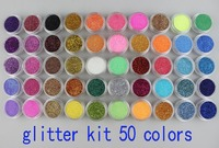 50 Jar Different Colors Sparkle Glitter Dust Powder For Party Nail Art & Cosmetic Beauty Decorate Desgin Freeship Product 051