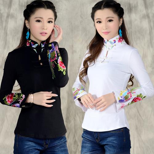Китайский стиль рубашки женские 2016 осень весна этническая черный белый стенд воротник вышитые футболки женщина с длинными рукавами топ blusa