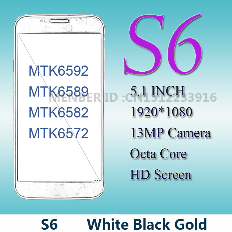 Best Seller S6 Mobile Phone 1G/8G Android 5.0 S6 Phone 1280*720 HDC MTK6582 Quad Core Smart S6 Cell Phone Low Price Freeshipping(China (Mainland))