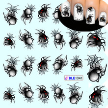 1 Sheet Halloween style Spider Water Transfer Nail Art Stickers Manicure Decoration Nails Wraps Decals Styling Tools BLE1341(China (Mainland))