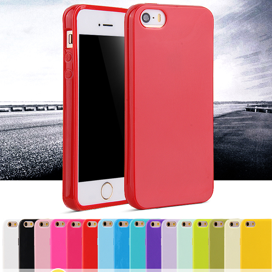 For iphone SE Fashion Candy Colors Jelly Soft TPU Silicone Shock proof Case for Apple iphone 5 5S 5G Cell Phone Protective Cover(China (Mainland))