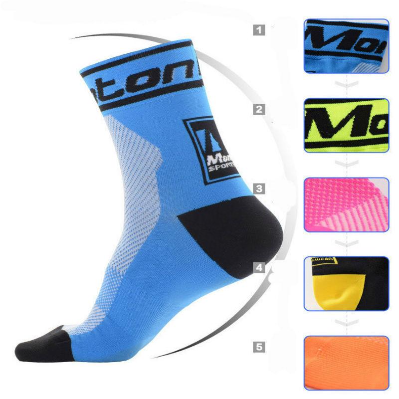Unisex Lycra Cycling Team Socks High Elasticity Outdoor Sports Wearproof Bike Socks Deodorization Breathable size 40-45