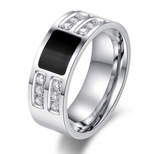 Men's Ring Jewelry wholesale Stainless Steel Beauty Crystal Mens Ring With CZ Stone Male Cool Party Jewelry(China (Mainland))