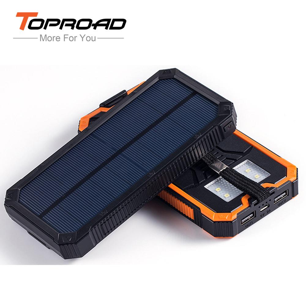 10000mAh Portable External Solar Battery Charger Power Bank Dual USB LED Light Bateria Externa Powerbank for PC Smart Phones(China (Mainland))
