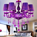 Free Shipping Modern led crystal chandeliers 6 Lights for kitchen room Livingroom Bedroom Purple Color K9