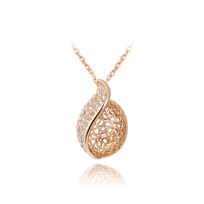 Genuine Austrian crystals hollow leaf 14K Gold Plated Pendant 100% hand made JewelryROXN145(China (Mainland))