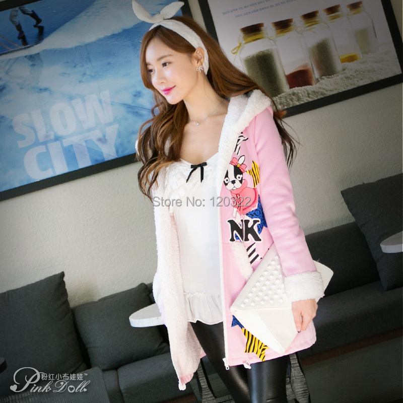 original new 2015 brand winter thick cotton padded clothes light pink printing hooded jacket women wholesaleОдежда и ак�е��уары<br><br><br>Aliexpress