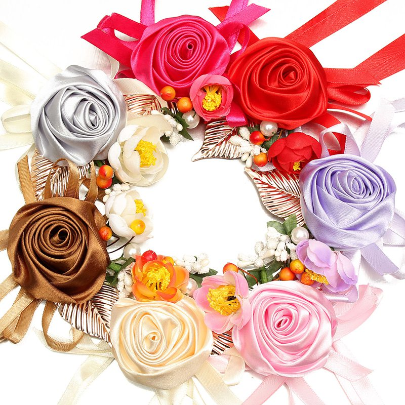 Wedding Bridal Wrist Rose Hand Flower Bridesmaid Corsage Silk Rose Ribbon Bracelet Wedding Party Decor 7 Colors(China (Mainland))