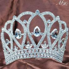 Royal Large Tiara Diadem Beauty Contest Crown Handmade Crystal Rhinestons Bridal Wedding Pageant Party Costumes Women Hairband(China (Mainland))