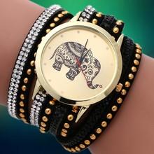 New 2015 Fashion Quartz Wristwatches DIY Korea Cashmere Women Rhinestone Watch Elephant Pattern Gold Plated Bracelets