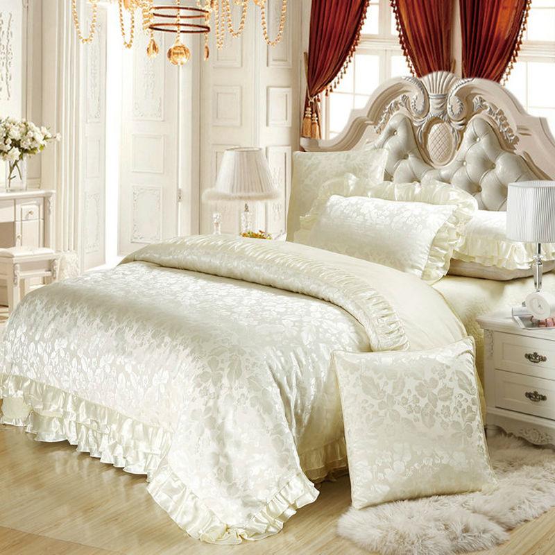 6pc/4pc Silk satin cotton blend luxury bedding set king queen duvet cover sets wedding white bedspreads(China (Mainland))