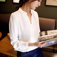 Buy New Casual White Women Blouse Ladies Solid Elegant V-neck Blouses Long Sleeve OL Office Shirt Plus Size for $7.29 in AliExpress store