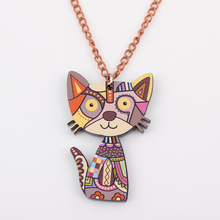 Bonsny Acrylic Cat Necklace Pendant Chain Collar Choker Pendant Animal Fashion Jewelry For Women Girs 2015