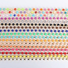 Discount 3m/lot 6mm Mixed color Rhinestone Chain Acrylic Rhinestone Chain Sew on Cup chain for DIY clothing ornament accessories(China (Mainland))