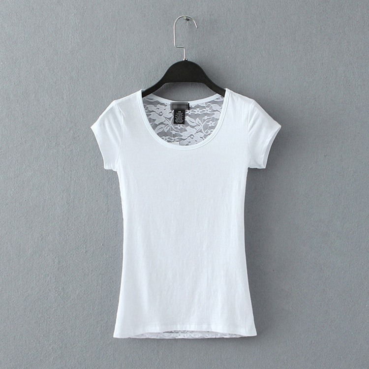 European women t shirt lace patchwork pure cotton solid white black grey color slim t shirts(China (Mainland))