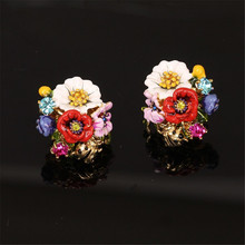 Les Nereides flower earring for women enamel glaze  female fashion earrings 2016 new arrival(China (Mainland))