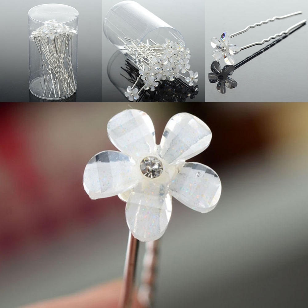 2Lots Wedding Bridal Five Petals Flower Clear Crystal Hair Pins Accessories - Li juan Jewelry---((No Minimium store)