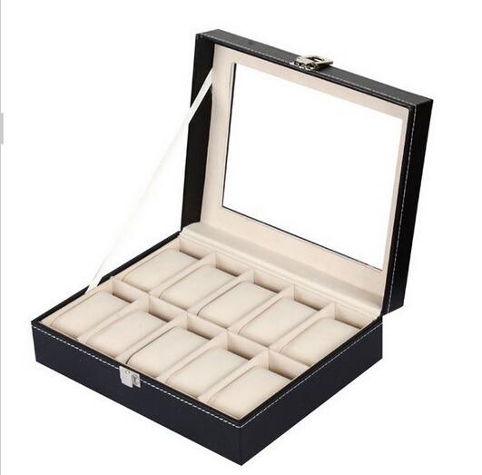 10 Grid Leather Wood Watch Case Jewelry Display Collection Storage Watch Organizer Box Holder caja reloj caixa de relogios(China (Mainland))