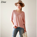 Ziker Brands New Fashion Casual Style Solid Women Blouses Shirts O Neck Short Sleeve Loose Cotton