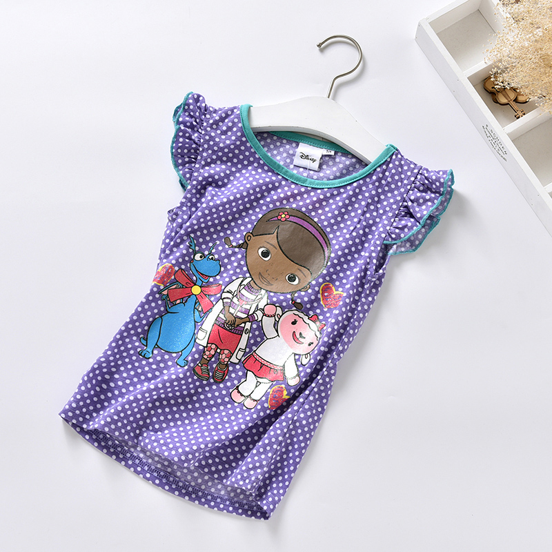 2016 Summer Clasical Doc Mcstuffins Costume Girl T-Shirts Children Cotton Doc Mcstuffins Clothes T Shirt For Baby Girls Tees(China (Mainland))
