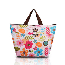 Portable Shipping Bag Flower Oxford Picnic Thermal Bag Neoprene Lunch Bag Food Cooler Bags Thermal Women Handbag