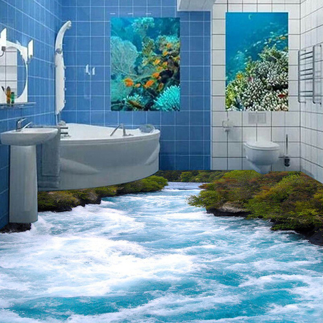 Aliexpress.com : Buy Custom 3D Floor Wallpaper Seawater ...