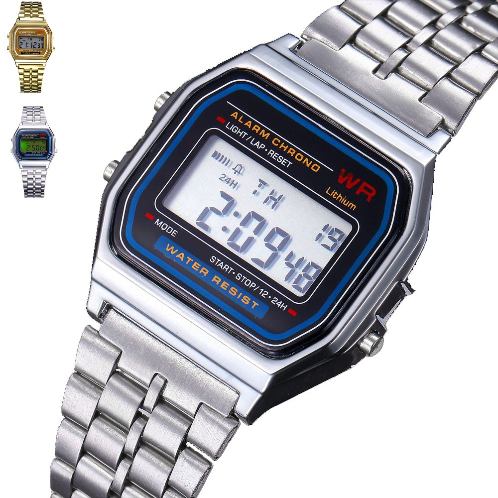 Fashion Gold Silver LED Couple Watch Digital Stainless Steel Square Military Men/ Women Dress Ladies Sports Watches With Logo(China (Mainland))