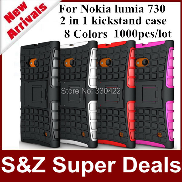 1000pcs Best service phone cases TPU+Plastic stand holder cover Armor Robot kickstand case for Nokia lumia 730(China (Mainland))