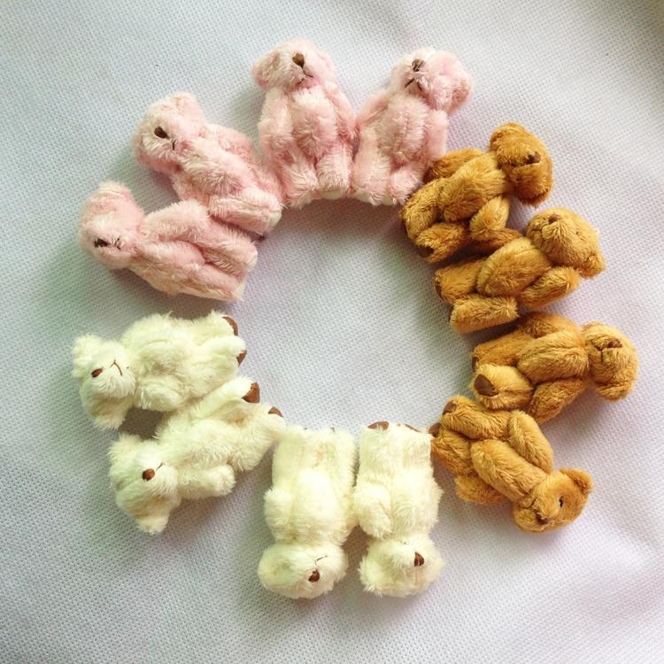 Retail 4.5cm Cartoon Long Plush Mini Teddy Bear Joint Bear Pendant Bouquet/Key chain/Phone/Bag/adornment Amigurumi Stuffed Dolls(China (Mainland))