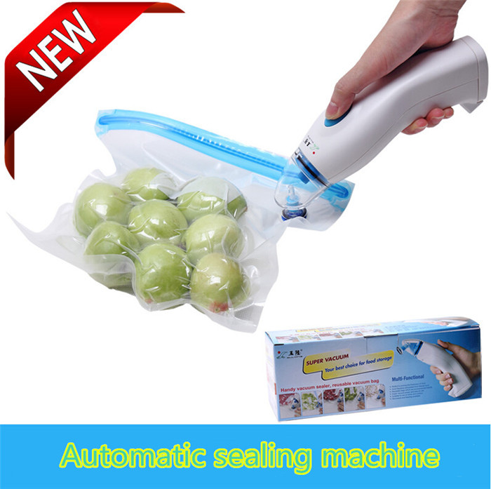 Hot sale food vacuum sealer Battery Sealing Machines Plastic Heating hand held Vacuum Food Sealers OEM I-28 for free shipping(China (Mainland))