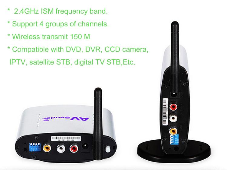 150M 2.4G AV Sender Wireless Transmitter Receiver  Audio Video TV Transmitter for DVD STB DVR Free Shipping