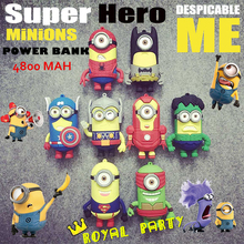 New Arrival 4800mAh Minions Cute Power Bank Charger Portable External Extended Battery Backup Pack Emergency for iPhone Android