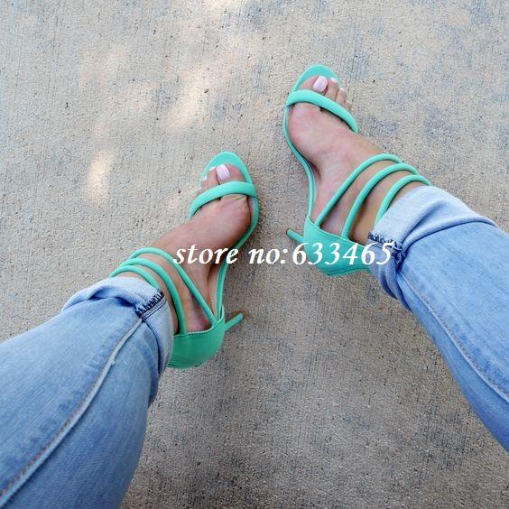 Menta verde tacones altos praty sandalias de vestir para mujeres(China (Mainland))