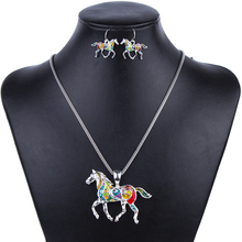 MS1504258 Fashion Horse Jewelry Sets High Quality Silver Plated Multicolor Horse Pendant Wholesale Party Gifts(China (Mainland))