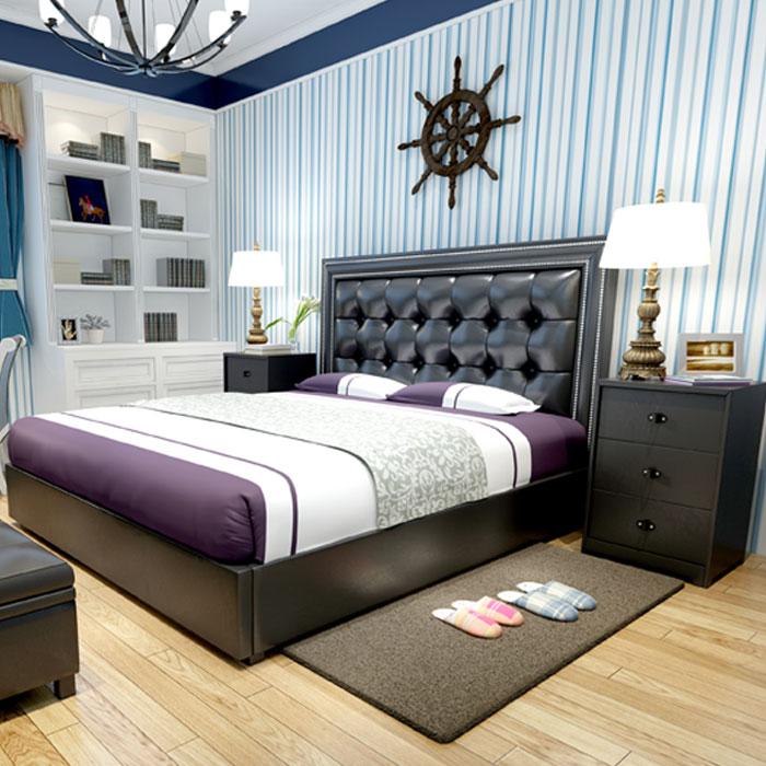 set of 4 pcs modern design soft bed bedroom furniture bed ,bedside,mattress(China (Mainland))