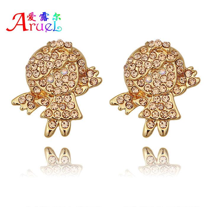 hot fashion women imitate diamond full Austrian Crystal ballet angel glow shine stud earrings 2015 girl aretes orecchini earring(China (Mainland))