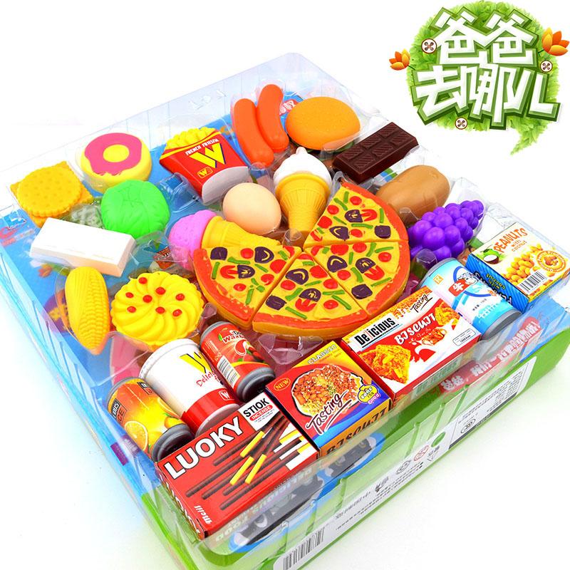 children kitchen play toys set pretend play simulation hamburger pizza toys unisex baby gift 32 pcs(China (Mainland))